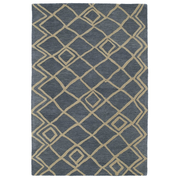 Hand-tufted Utopia Lucca Blue Wool Rug - 8' x 11'