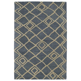 Hand-tufted Utopia Lucca Blue Wool Rug (8' x 11')