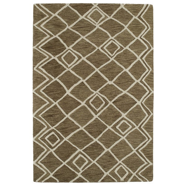 Hand-tufted Utopia Lucca Brown Wool Rug - 5' x 8'