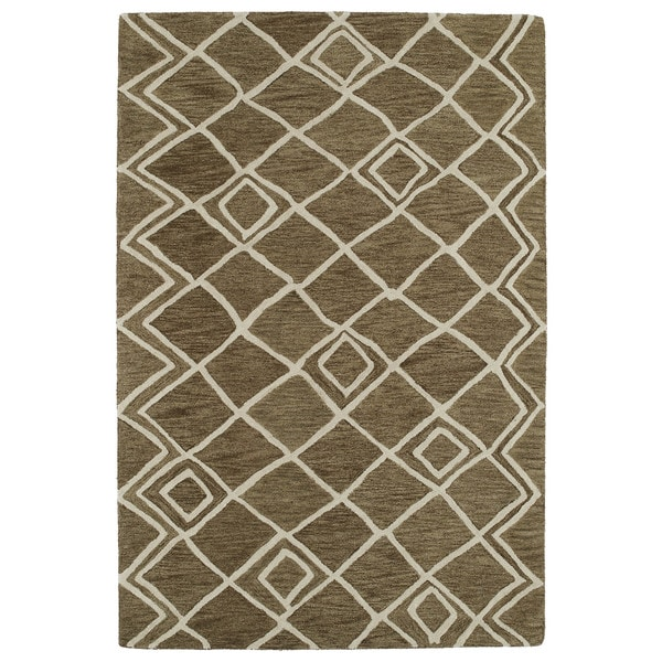 Hand-tufted Utopia Lucca Brown Wool Rug (8' x 11')