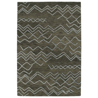 Hand-tufted Utopia Cascade Charcoal Wool Rug (2' x 3')