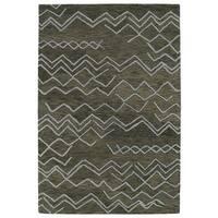 Hand-tufted Utopia Cascade Charcoal Wool Rug (2' x 3')