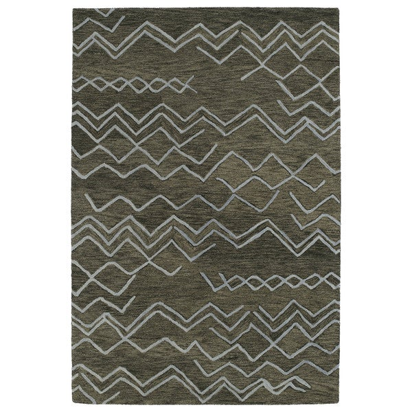 Hand-tufted Utopia Cascade Charcoal Wool Rug - 5' x 8'
