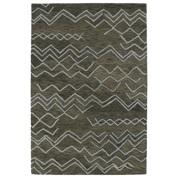 Hand-tufted Utopia Cascade Charcoal Wool Rug (5' x 8')