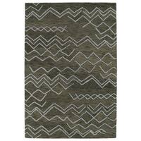 Hand-tufted Utopia Cascade Charcoal Wool Rug - 8' x 11'