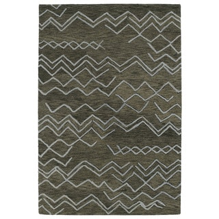Hand-tufted Utopia Cascade Charcoal Wool Rug (4' x 6')