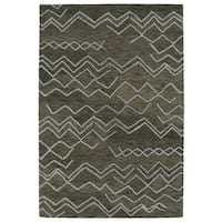 Hand-tufted Utopia Cascade Charcoal Wool Rug - 9'6 x 13'6