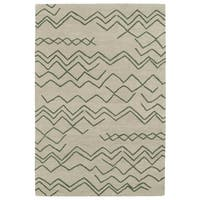 Hand-tufted Utopia Cascade Emerald Wool Rug - 2' x 3'