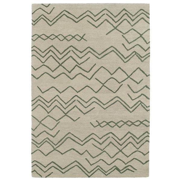 Hand-tufted Utopia Cascade Emerald Wool Rug (5' x 8')