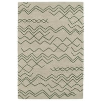 Hand-tufted Utopia Cascade Emerald Wool Rug - 5' x 8'