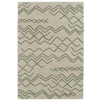 Hand-tufted Utopia Cascade Emerald Wool Rug - 5' x 8'