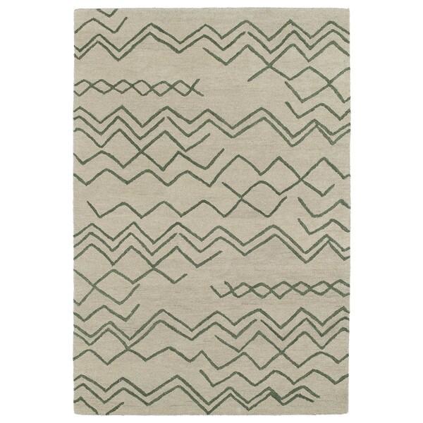 Hand-tufted Utopia Cascade Emerald Wool Rug (8' x 11')