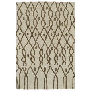 Hand-tufted Utopia Fringe Brown Wool Rug (5' x 8')