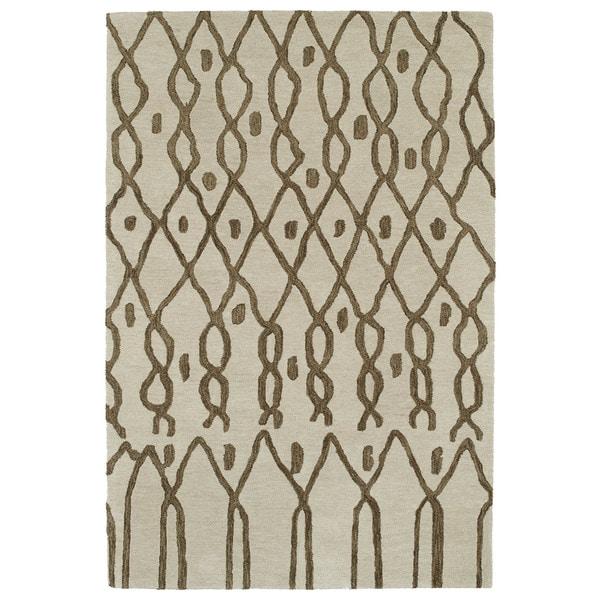 Hand-tufted Utopia Fringe Brown Wool Rug - 8' x 11'