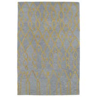 Hand-tufted Utopia Fringe Blue Wool Rug