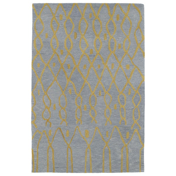 Hand-tufted Utopia Fringe Blue Wool Rug - 5' x 8'