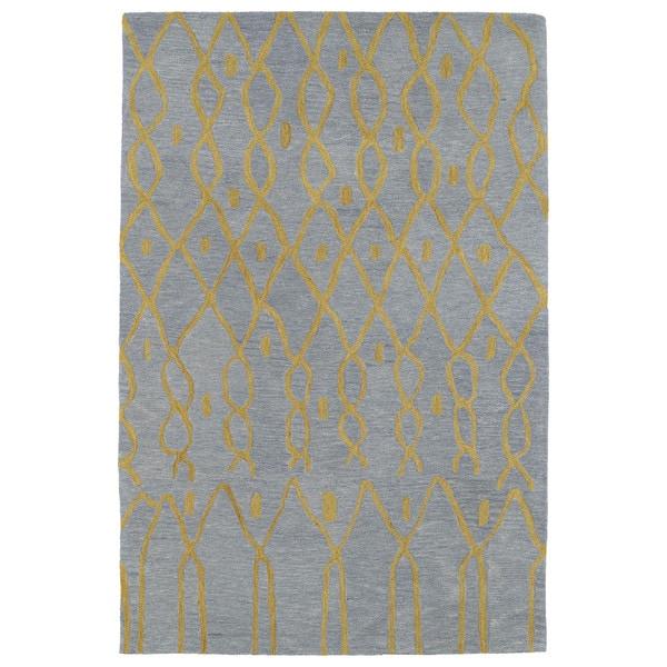Hand-tufted Utopia Fringe Blue Wool Rug - 8' x 11'
