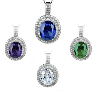 ELYA Sterling Silver Oval Cubic Zirconia Double Halo Necklace