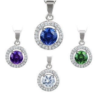 ELYA Sterling Silver Round-cut Cubic Zirconia Halo Necklace