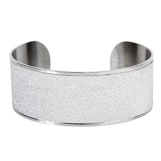 Sandblasted Stainless Steel Cuff Bracelet