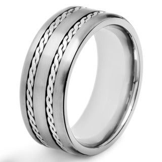 Men's Crucible Titanium Rope-inlay Comfort-fit Ring - White