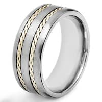 Men's Crucible Two-tone Titanium Rope Inlay Comfort-fit Ring