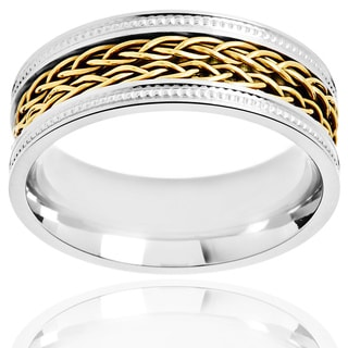 Crucible Two-tone Stainless Steel Double-braided Inlay Milgrain Ring