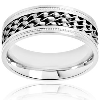 Crucible Polished Stainless Steel Twisted Strand Inlay Milgrain Comfort Fit Ring - 8mm Wide