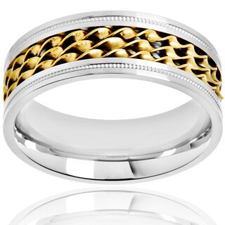 Crucible Two Tone Polished Stainless Steel Twisted Strand Inlay Milgrain Comfort Fit Ring - 8mm Wide