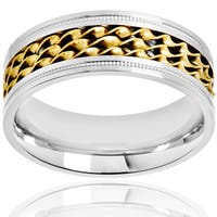 Crucible Two Tone Stainless Steel Comfort Fit Ring (8mm) - White