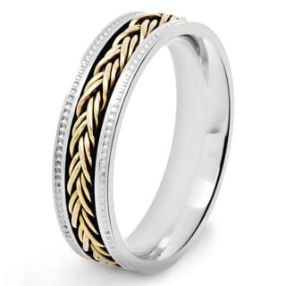 Crucible Two Tone Polished Stainless Steel Braided Rope Inlay Milgrain Comfort Fit Ring - 6mm Wide