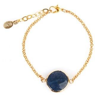 ELYA Dyed Blue Chalcedony Goldplated Bracelet