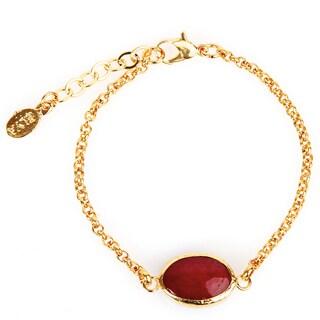 ELYA Dyed Red Chalcedony Goldplated Bracelet