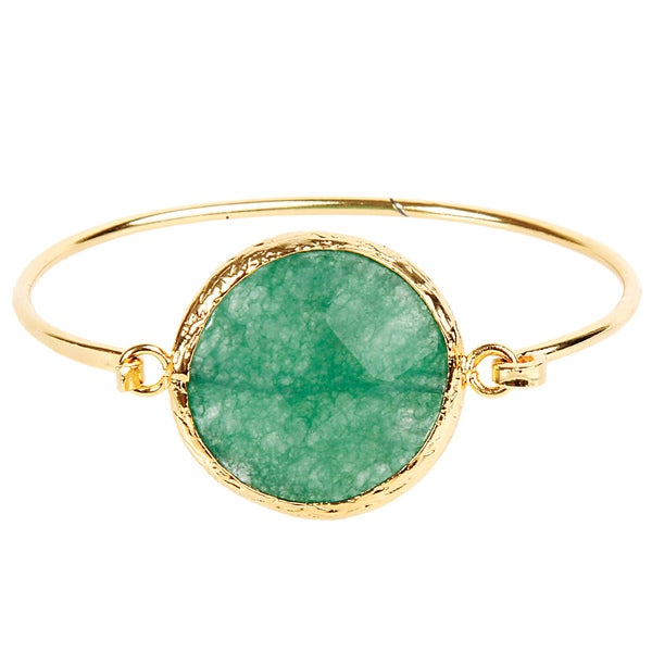 ELYA Dyed Green Chalcedony Goldplated Bangle Bracelet
