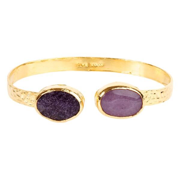 ELYA Amethyst Hammered Goldplated Cuff Bracelet