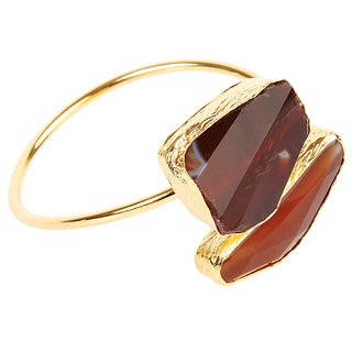 ELYA Agate Goldplated Bangle Cuff