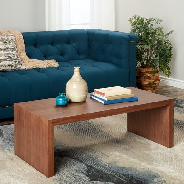 Shop Abbyson Allison Walnut Medium Coffee Table Free Shipping