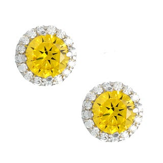 Sterling Silver Yellow and White CZ Stud Earrings