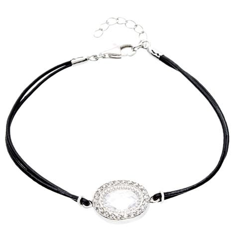 Roberto Martinez Sterling Silver Cubic Zirconia Leather Bracelet