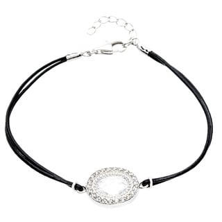 Sterling Essentials Silver and Leather Cord Cubic Zirconia Bracelet