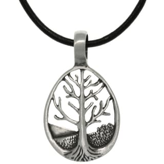 Carolina Glamour Collection Pewter Tree of Life Teardrop Pendant on Leather Necklace