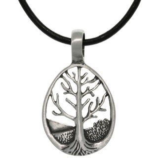 Pewter Tree of Life Teardrop Pendant on Leather Necklace