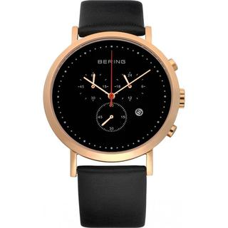 Bering Time Men's Black Dial Chronograph Watch