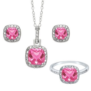 Dolce Giavonna Sterling Silver Pink Topaz and Diamond Accent Earring, Ring, Pendant, or Set