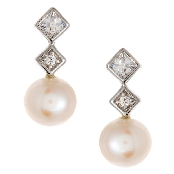 Kabella Jewelry Sterling Silver White FW Pearl and CZ Earrings (6-6.5 mm)