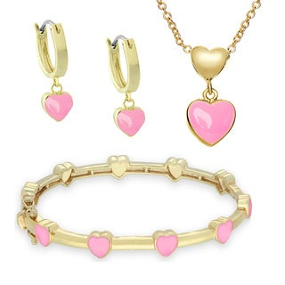 Molly and Emma Childrens Gold Overlay Pink Enamel Heart Jewelry Set