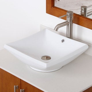 Elite High Ceramic Bathroom Sink with Square Design and Brushed Nickel Finish Faucet Combo