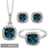 Dolce Giavonna Sterling Silver London Blue Topaz Earring Ring Pendant Or Set