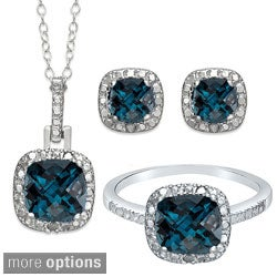 Dolce Giavonna Sterling Silver London Blue Topaz Earring, Ring, Pendant or Set (More options available)