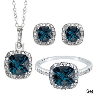 Dolce Giavonna Sterling Silver London Blue Topaz Earring, Ring, Pendant or Set